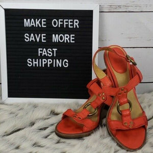 Frye Leather w/ Wood Heel Orange Sandals Size 8